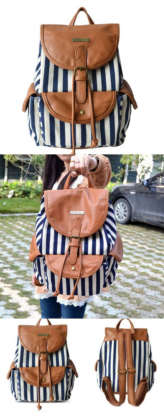 Unique Navy Style Stripe Splicing Leather Backpack for big sale! #backpack #navy #unique #stripe #bag
