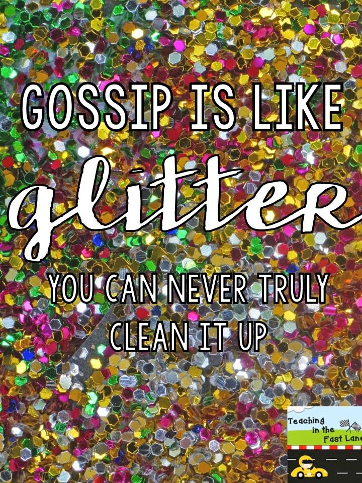 Gossip is Like Glitter - you can never truly clean it up! Lesson idea for teaching kids about the harm gossiping can do