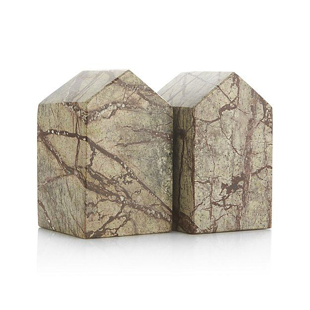 Set of 2 Marble House Bookends | Crate and Barrel