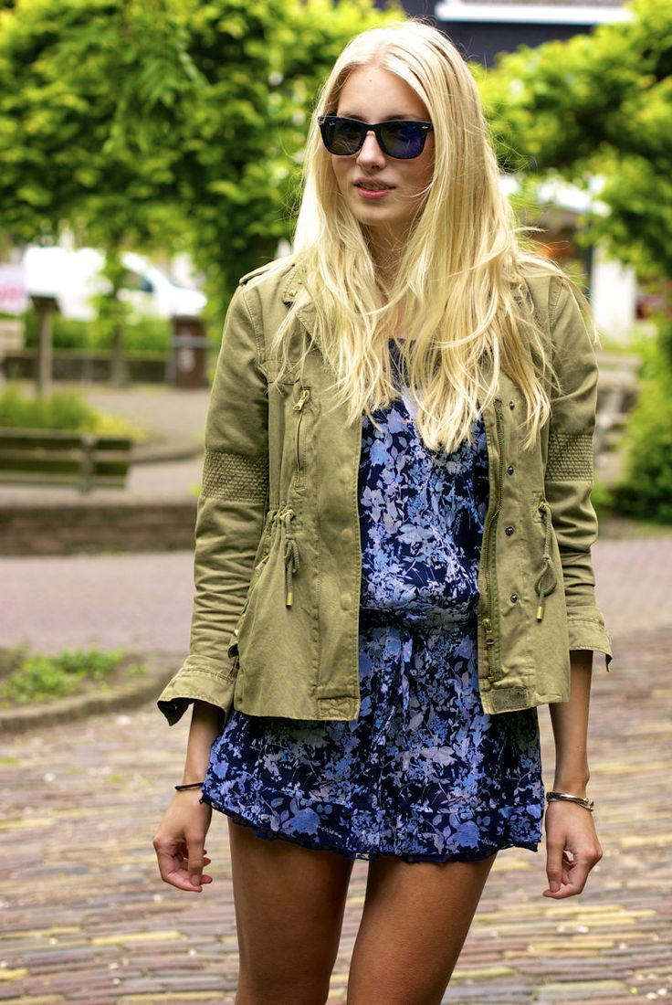 Shades Of Blue  #Military #Jackets #Floral #Dresses