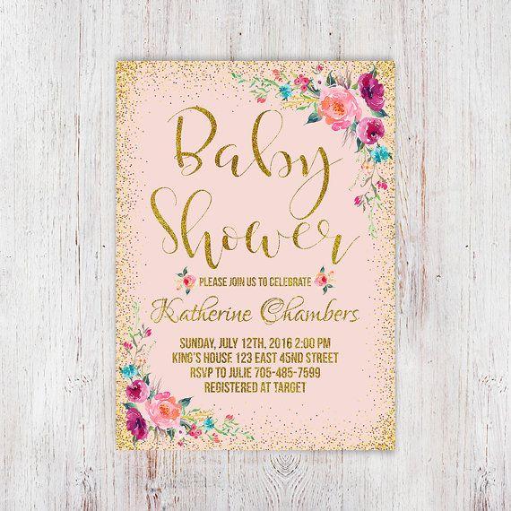Blush pink and gold baby shower invitation от InvitationsDigital