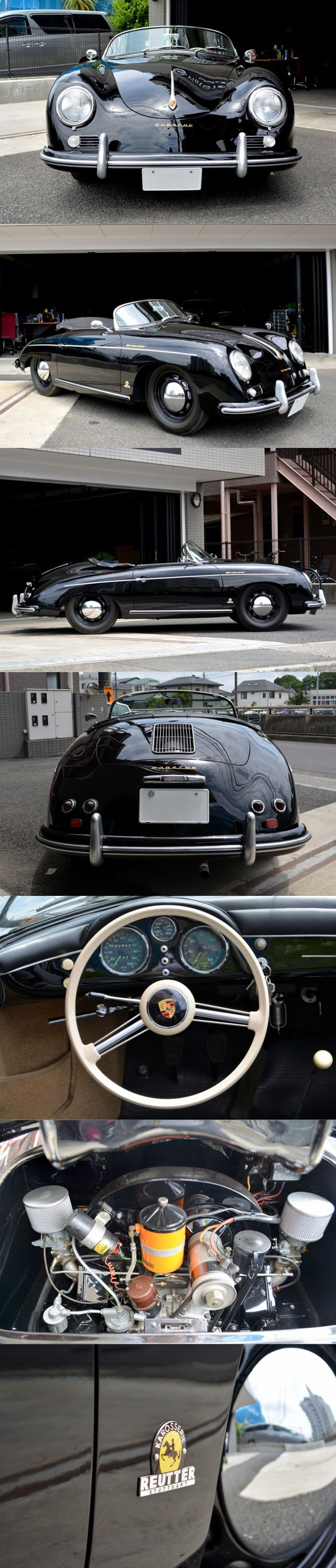 1955 Porsche 356 Speedster Reutter / pre A / 43.000km / vintage-car.net / Japan / black