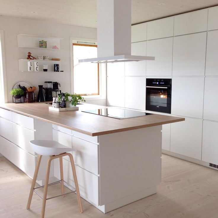 Modern kitchen inspiration, white seamless design, with thin benchtop - Found on Pinterest