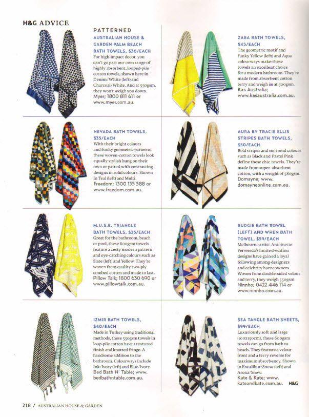 KAS ROOM 'Zaba' bath towel featured in House & Garden magazine - Page 218 - Nov 2015
