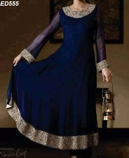 Adorning Navy Blue Anarkali Kameez Fabulous by Ethnicdresses, $174.50
