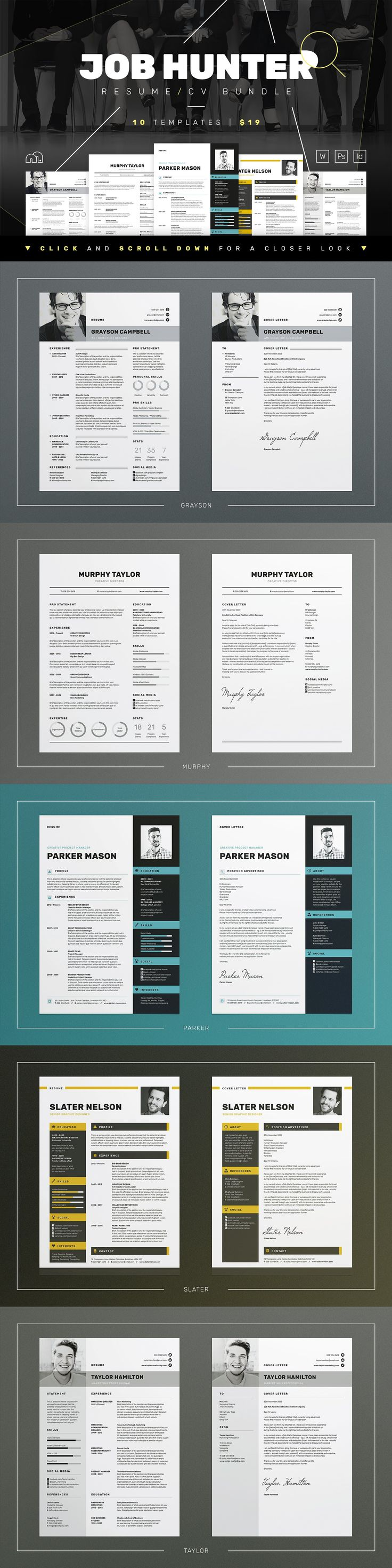 JOB HUNTER - Resume/CV Bundle by bilmaw creative on @creativemarket This collection of 10 modern template designs are the perfect match for any profession. Easy to edit and personalise, you can apply for that last minute job application with no hassle, impress your future employer and secure that important interview!!