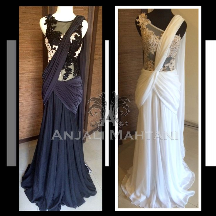 Ebony / Ivory Saree Gown in Chiffon