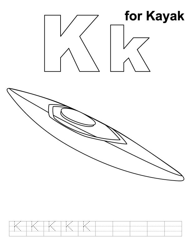 K For Kayak Coloring Page With Handwriting Practice Handwriting Practice Coloring Pages Kids Handwriting Practice