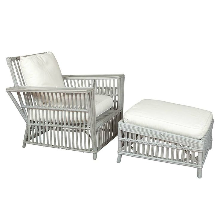 Suite of Gray Painted Rattan Furniture