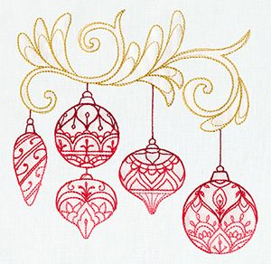Have this one to use for next Christmas Delicate December - Ornaments design (UT7259) from UrbanThreads.com