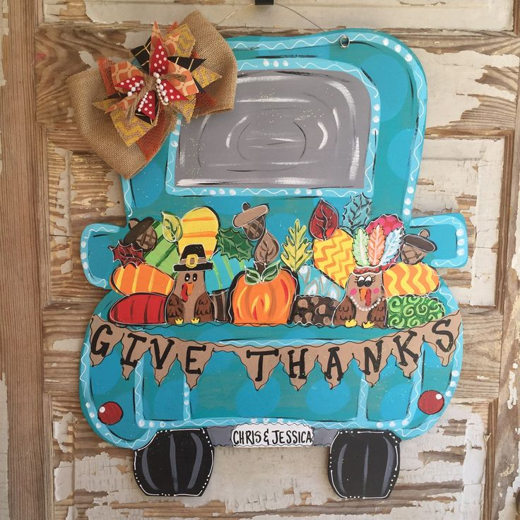 Fall Truck Turkey Thanksgiving pumpkin Door Hanger - pinned by pin4etsy.com