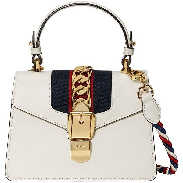 Gucci Sylvie Leather Mini Bag found on Polyvore featuring bags, handbags, bags /, kirna zabete, top handles, genuine leather handbags, genuine leather purse, gucci, real leather purses and white leather handbags