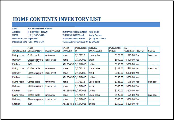 home contents inventory list template at xltemplates.org