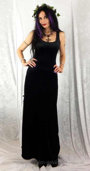 Long Black Widow Dress in Steamed Velvet by Moonmaiden Gothic Clothing UK