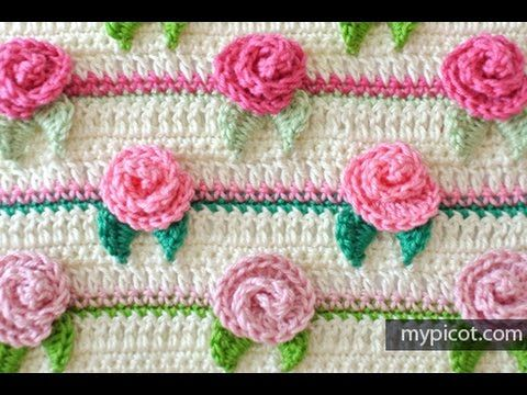 How to crochet Rosebud Stitch / My My Picot Pattern (Written instructions below) | Cantinho do Video