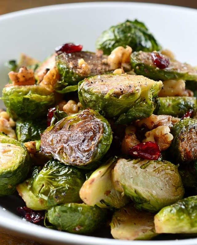 Roasted Brussels Sprouts, Walnuts and Cranberries Recipe
