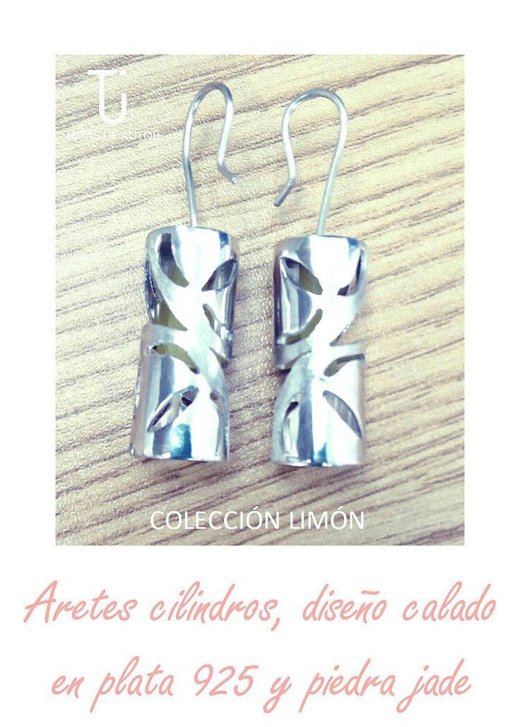 Colecciónlimón#aretes#cilindros#plata925#piedrajade#calado#formas#geométricas#texturas#diseño#color#TÚ joyas de autor.