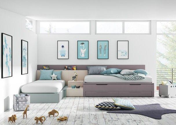 Dormitorio Infantil De Estilo Modular Con 3 Camas Habitaciones Infantiles Dormitorios Habitaciones Juveniles