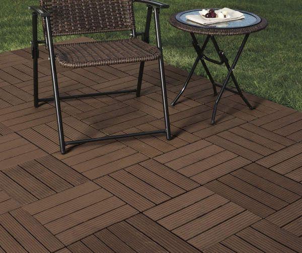 Brown 10 Piece Faux Wood Interlocking Deck Patio Tile Set