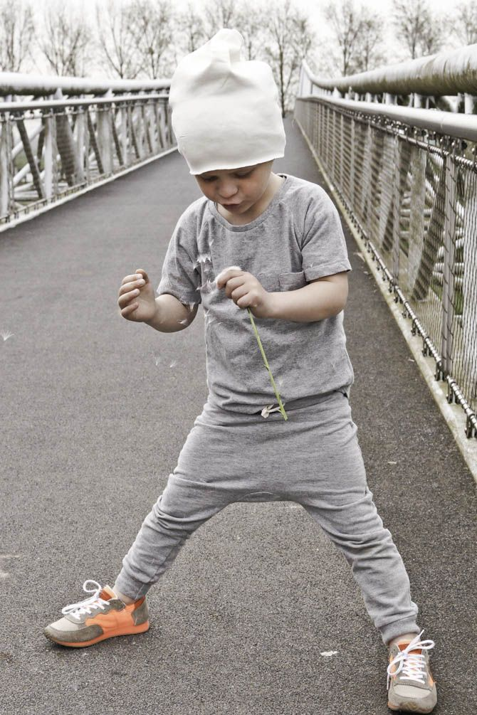 A little David....beanie, diaper pants, grey T, lol! Toooooo cute!