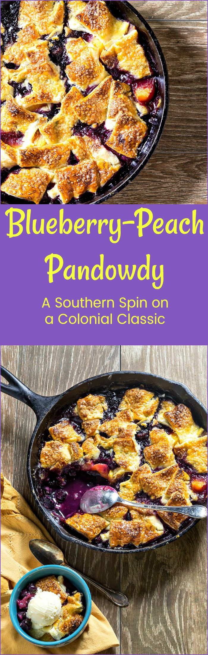 Blueberry Peach Pandowdy takes juicy, seasonal fruit, lightly sweetened and spiced, and pairs it with buttery pastry both in the fruit and on top. The result is poached fruity dumplings and fruit inside and crisp, flaky pastry on top. A homey dessert dating from Colonial times, pandowdy is most often made with apples. But that doesn't mean you can't use your favorite fruit! Try this blueberry peach version. You're going to love this fruity dessert!   pastrychefonline.com