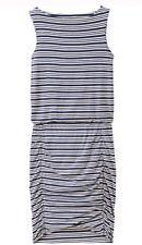 NEW Athleta $98 Indigo Blue TULIP STRIPE Dress SZ ST Ruched Skirt