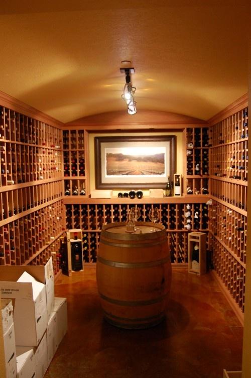 wine cellar w/ display area for art