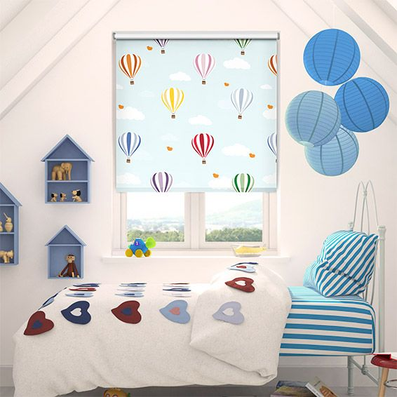 When the world outside is nothing more than a dreary shade of grey, the Balloons Flying High roller blind will brighten your child's day.