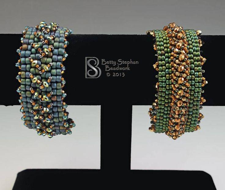 Betty Stephan, bracelets, peyote base with embellishments