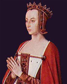 Anne de France, triptyque du Maître de Moulins, - Régente du royaume de France 1483-1491 pour Charles VIII. Née en avril 1461 à Genappe, décès le 14 nov 1522 à Chantelle Père: Louis XI, Mère: Charlotte de Savoie. Conjoint: Pierre de Beaujeu. Enfants: Charles de Bourbon, Suzanne de Bourbon.- Fille aînée de Louis XI,  nourrisson, elle est fiancée à Nicolas de Lorraine, petit-fils de René d'Anjou, héritier des trônes de Lorraine, Bar, Anjou, Maine, Provence, Naples et Sicile.