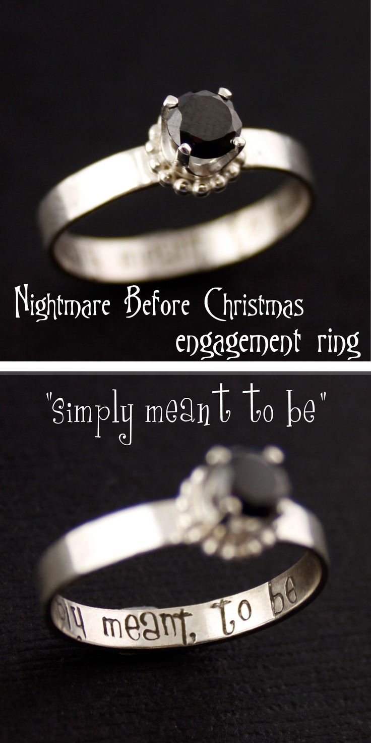 "Nightmare Before Christmas ""Simply Meant to Be"" Engagement Ring from Spiffing Jewelry"