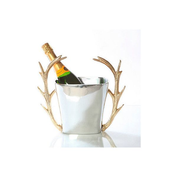 Stag Champagne Bucket By Lunares ($219) ❤ liked on Polyvore featuring home, kitchen & dining, bar tools, wine-bucket, champagne cooler, champagne ice buckets, champagne bucket and rustic ice bucket