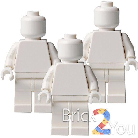 Lego 3x Custom White Plain Minifigure  White Body / by Brick2you