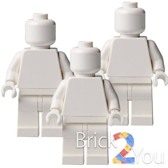 Lego 3x Custom White Plain Minifigure  White Body / by Brick2you