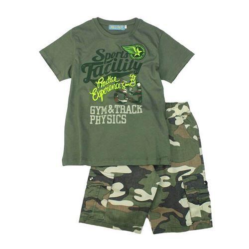 Completo bambino estivo, composto da t-shirt manica corta stampe al centro fluo vintage, pantalone in tessuto cotone fantasia mimetica, punto vita elasticizzato, tasche inserite e applicate, Red Best - Collezione P/E 2017. Composizione: 100% cotone - Colore: verde militare/fantasia
