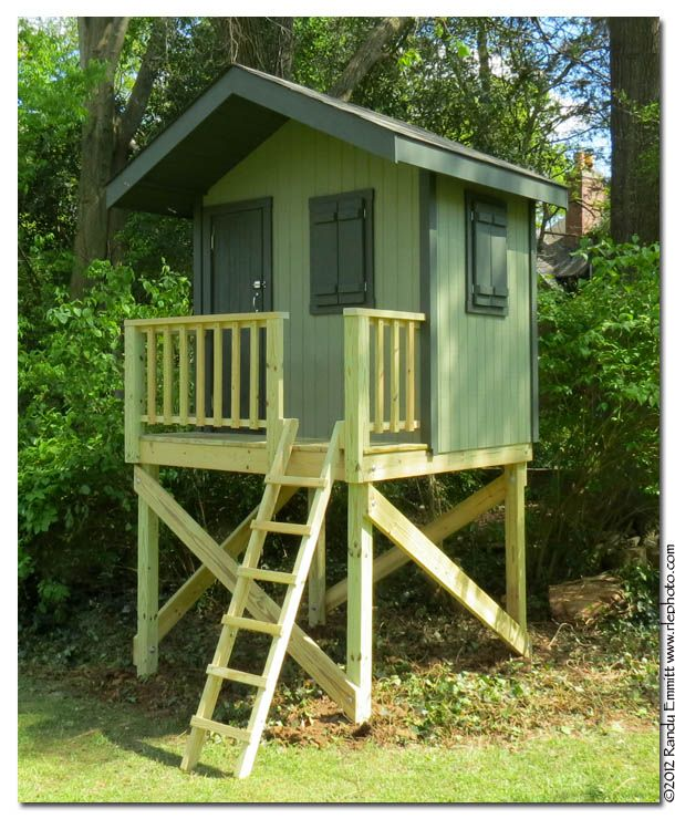 This is a nice playhouse but i think a slide off the for Decking at end of garden