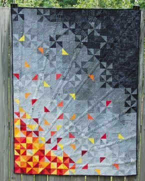 "Finished science quilt! This is ""Corona,"" inspired by the Sun's outer layer that is only visible during a total solar eclipse."