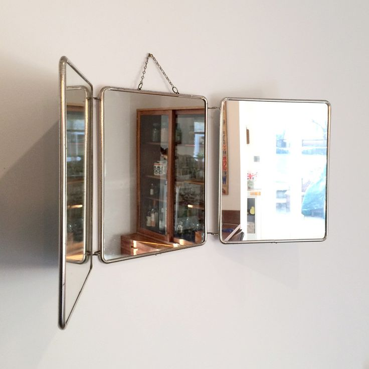 Photo On Vintage French Tri Fold Barbers Mirror