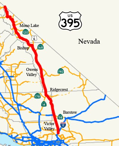 California\'s US Highway 395 runs through part of the Mojave. It is ...