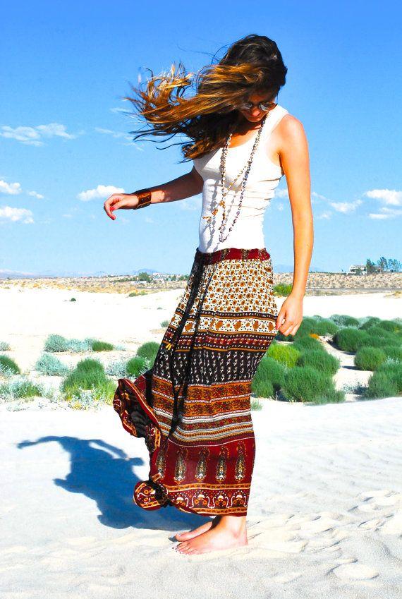 Vintage 1960s Hippie Commune Yoga Summer Strapless Dress Maxi Skirt Paisley India Indian Print Gauzy Gauze Gathered Medium Large