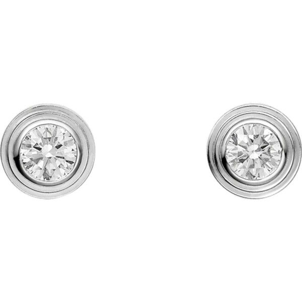 CARTIER Diamants Légers de Cartier 18ct white-gold and diamond... ($1,050) ❤ liked on Polyvore featuring jewelry, earrings, diamante jewelry, diamond earrings, cartier earrings, diamond jewellery and cartier jewelry