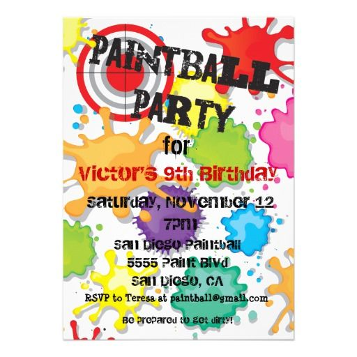 50 best paintball party images on pinterest | paintball birthday, Birthday invitations