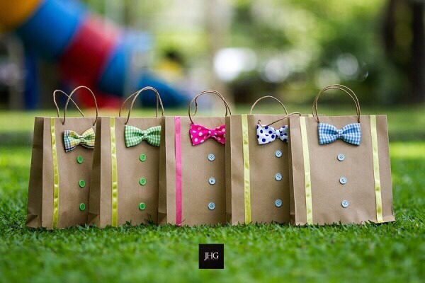 Party bags baby boy treats favors bow ties