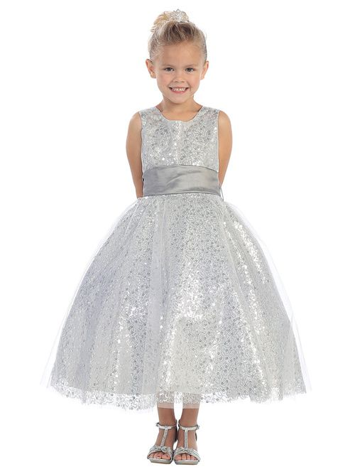 She will shine in this all glitter and sparkle sequin girls party dress. This gorgeous girls special occasion dress comes with a very affordable price tag that fits any budget.
