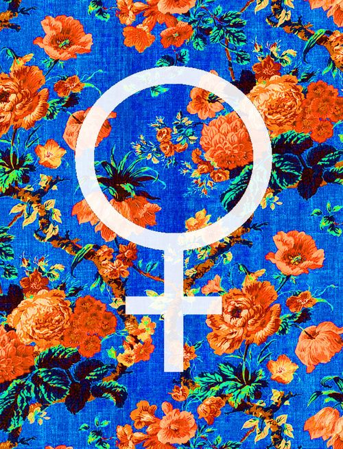 female, symbol, flower, pattern, design, blue, orange, art,