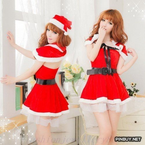 Sexy Lady Santa Costume Outfit Velvet Dress   Shawl T.G.I. Store - PinBuy