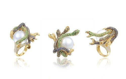 Farah Khan Snake Around a Pearl ring.