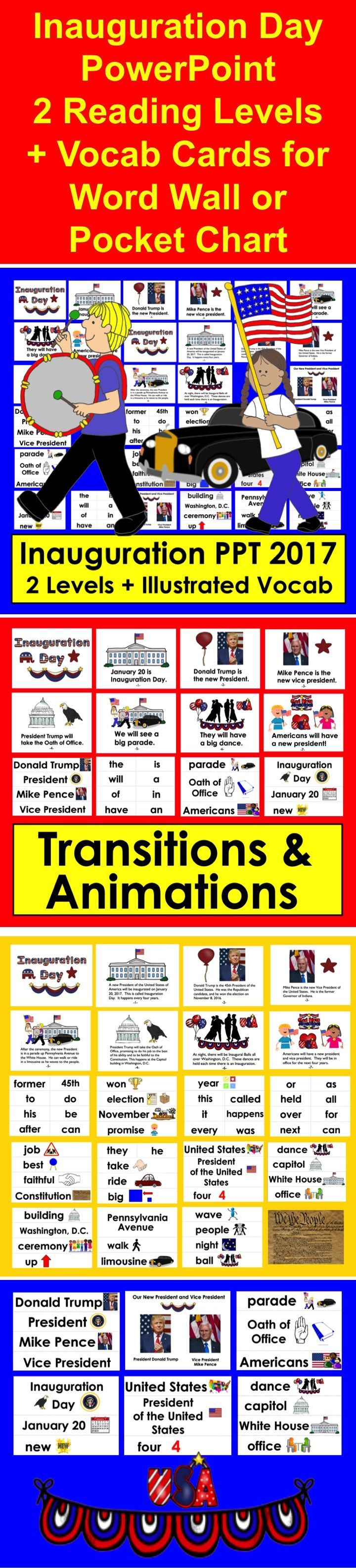 Inauguration Day PowerPoint for Kindergarten and First Grade - 2 Levels + Illustrated Vocabulary Slides