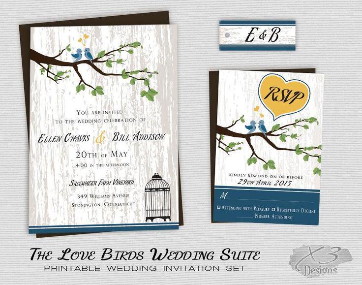 Сельский Страна свадебные приглашения, для печати Любовь птиц Свадьба, Свадьба Barn Invite, Backyard свадьба, Три отделения, Birdcage, желтый и синий