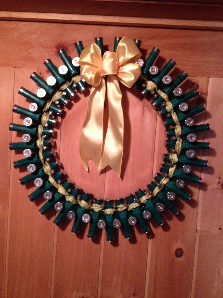 Remington 12 gauge shotgun shell wreath with green&yellow ribbon